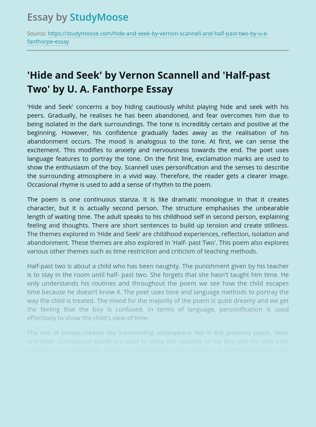 'Hide and Seek' by Vernon Scannell and 'Half-past Two' by U. A. Fanthorpe