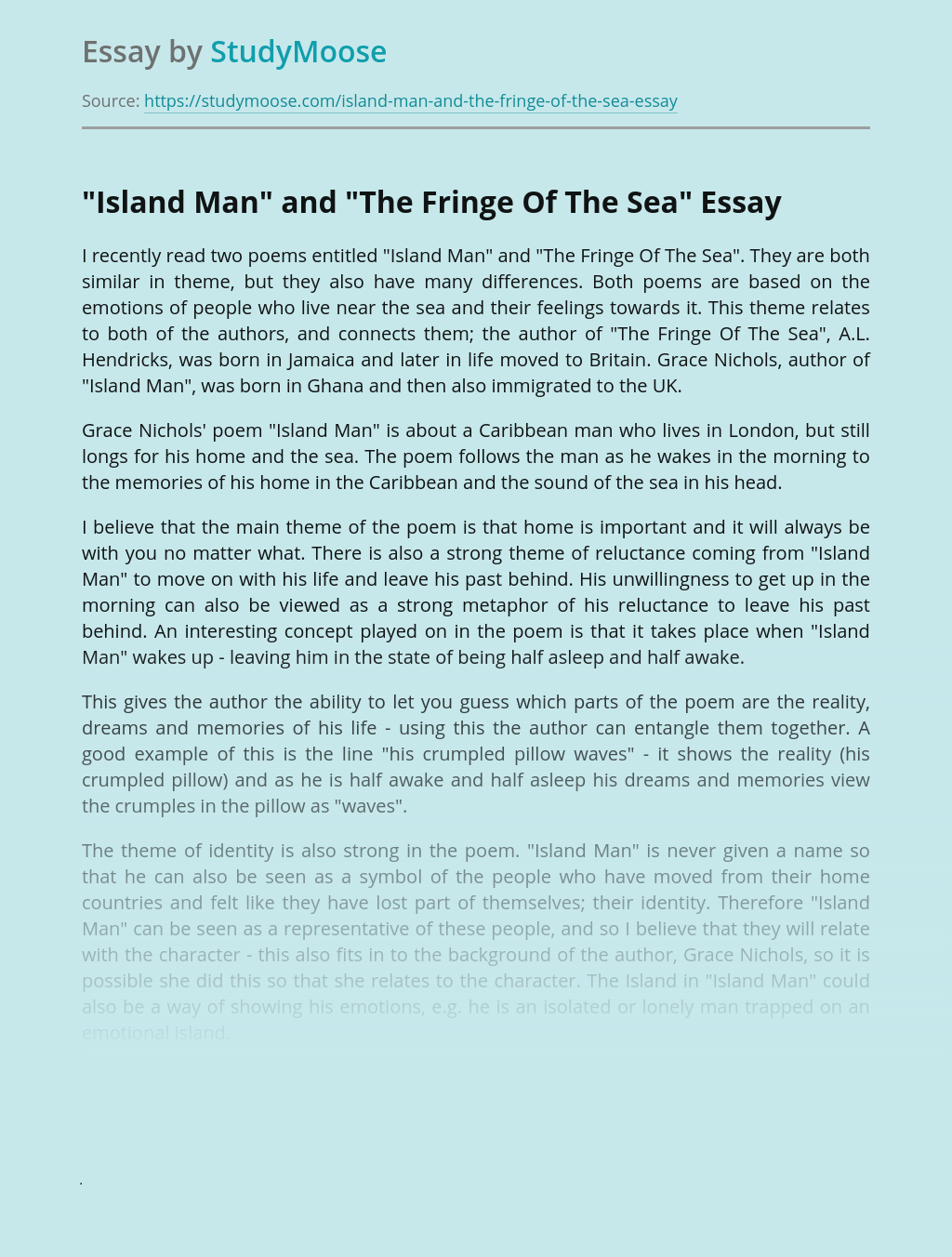 """""""Island Man"""" and """"The Fringe Of The Sea"""""""