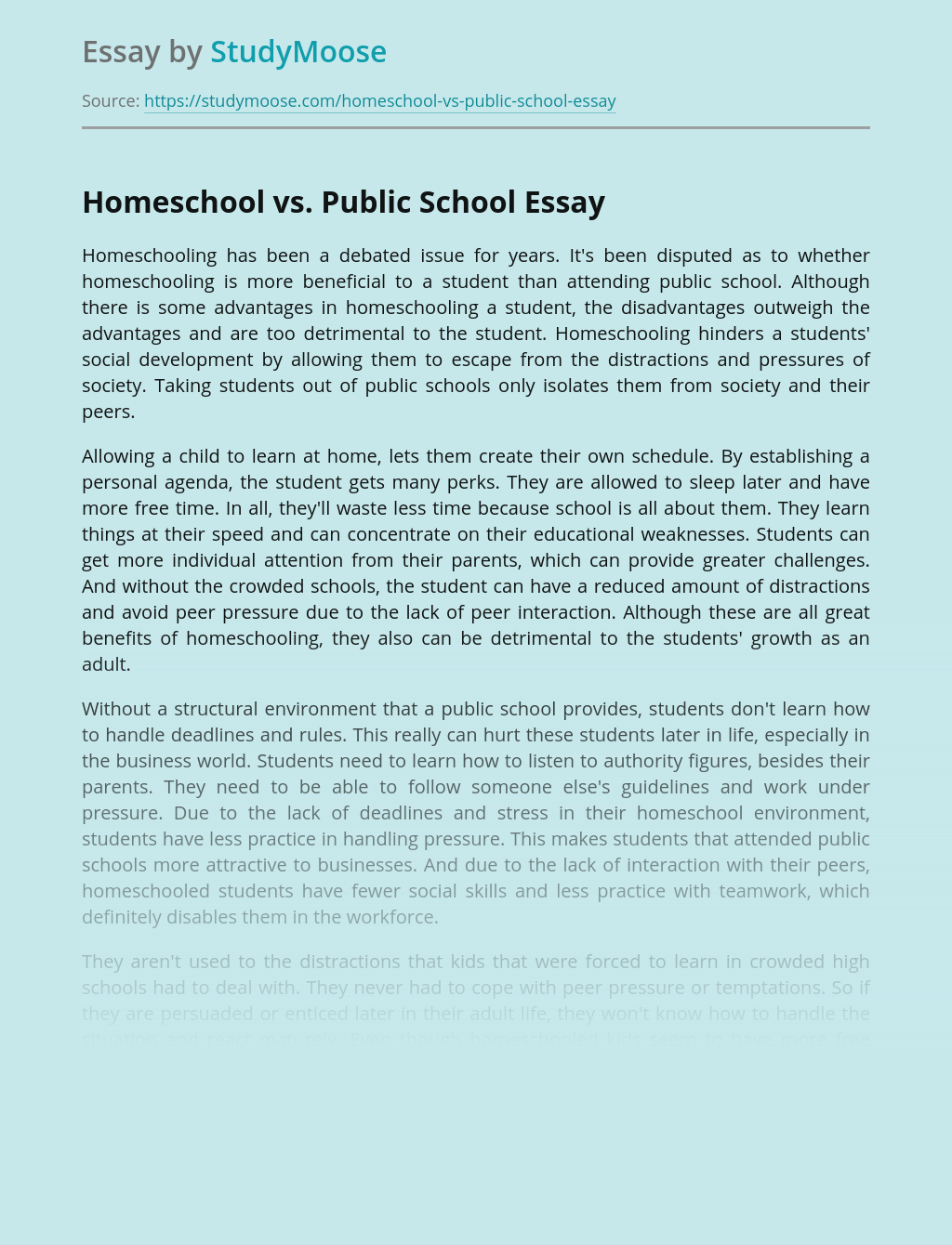 Thesis statement homeschool vs public school custom argumentative essay editing services uk