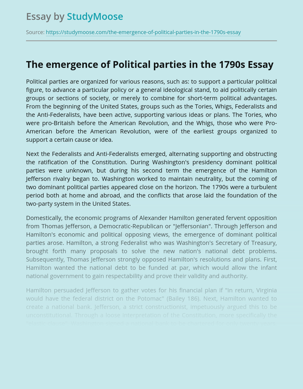 The emergence of Political parties in the 1790s