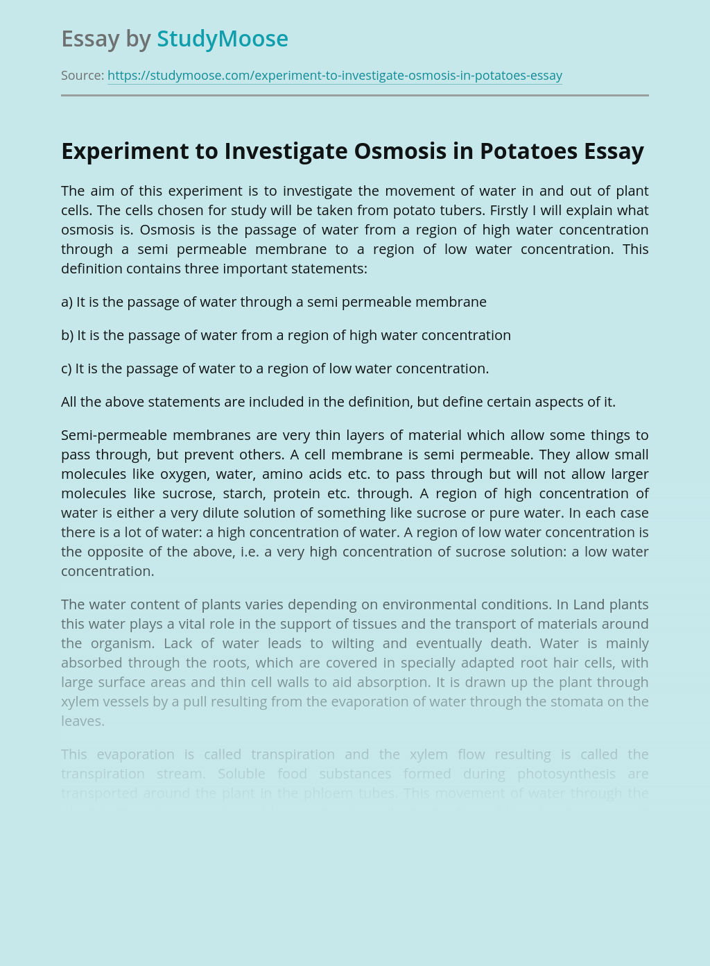 Experiment to Investigate Osmosis in Potatoes
