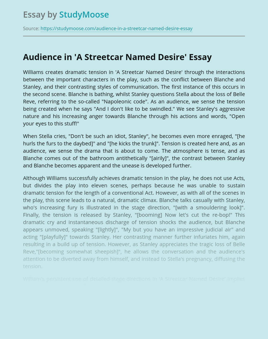 Audience in 'A Streetcar Named Desire'