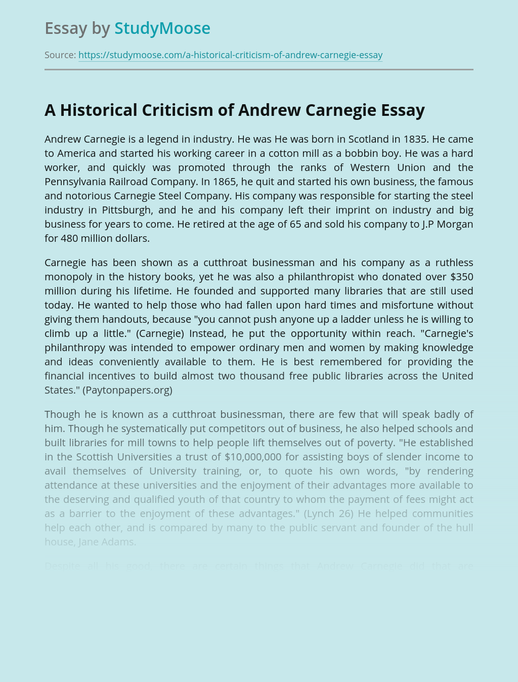 A Historical Criticism of Andrew Carnegie