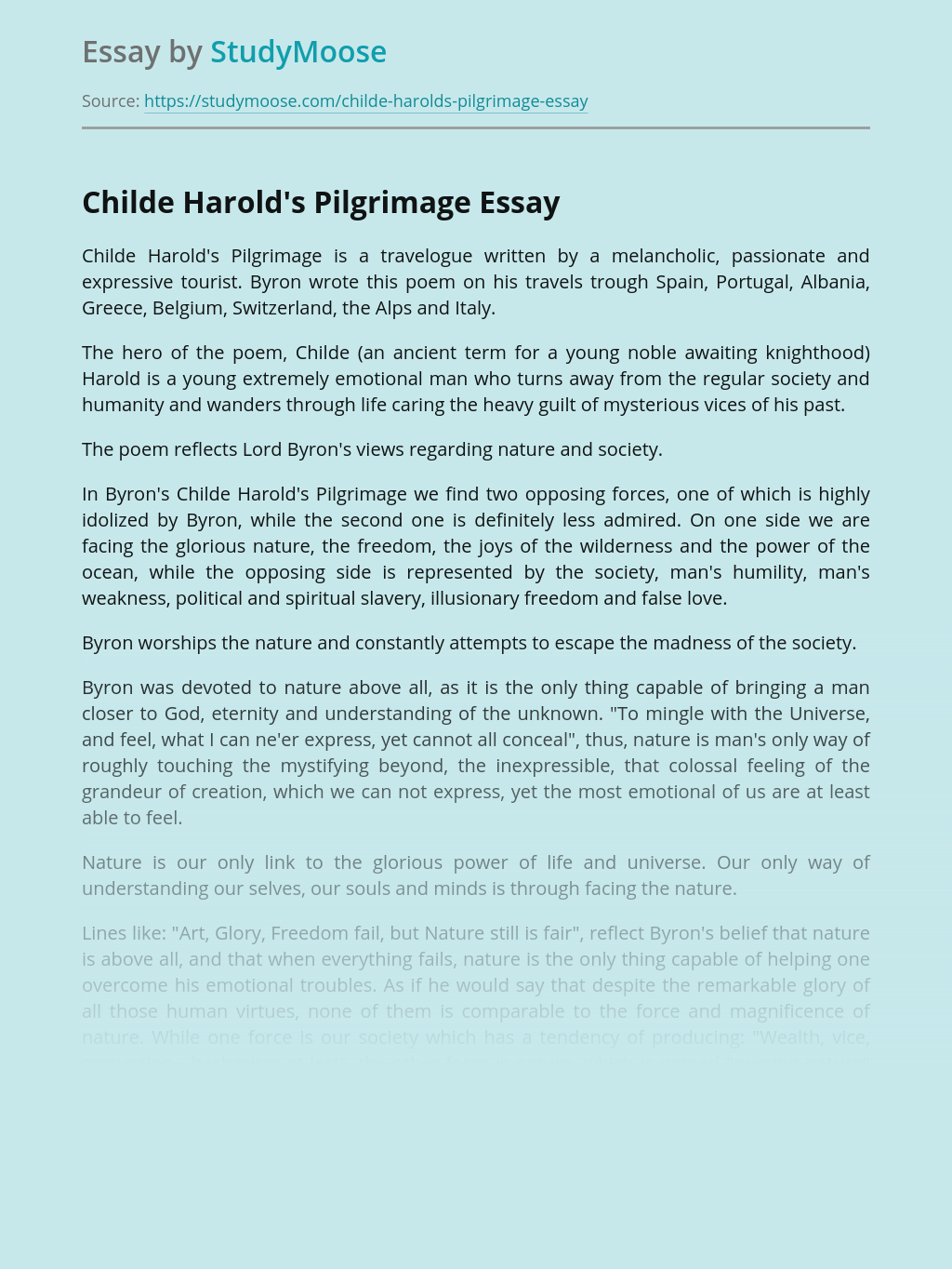 Childe Harold's Pilgrimage