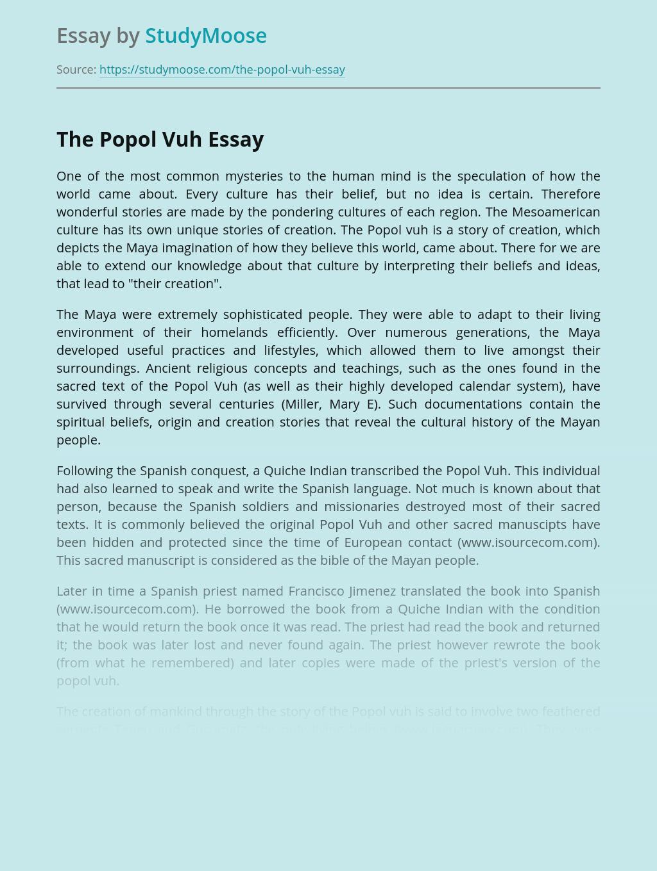 Popol Vuh in Maya Mythology