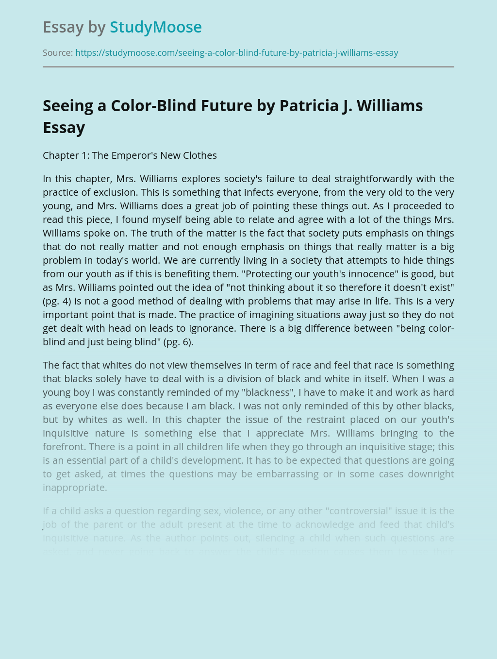 Seeing a Color-Blind Future by Patricia J. Williams