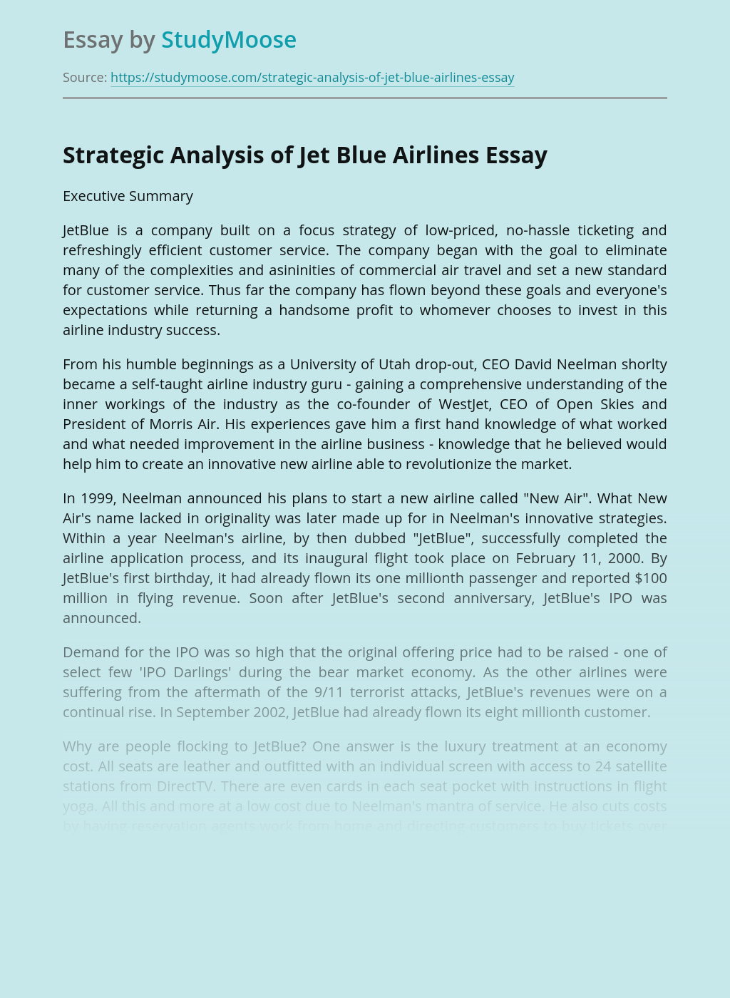 Strategic Analysis of Jet Blue Airlines