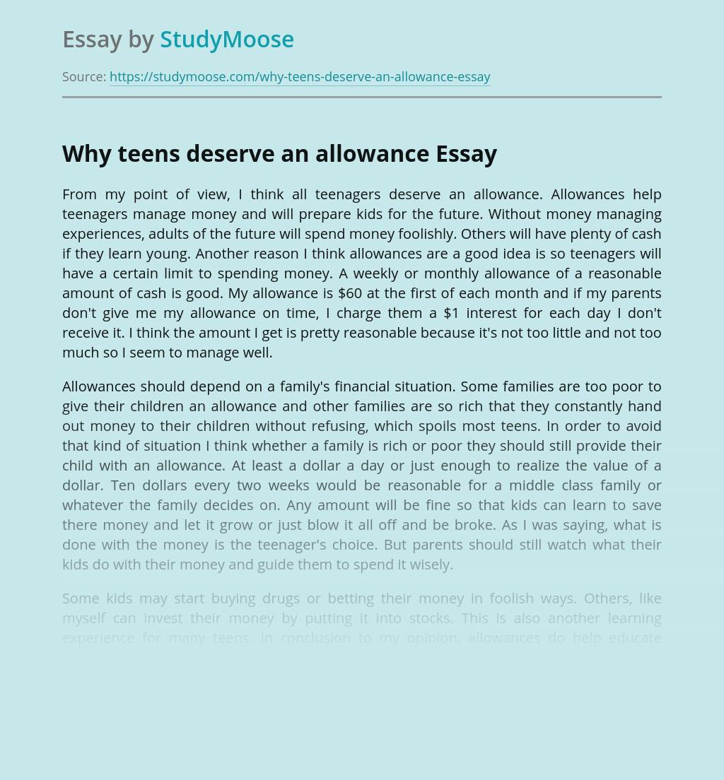 Why Teens Deserve an Allowance