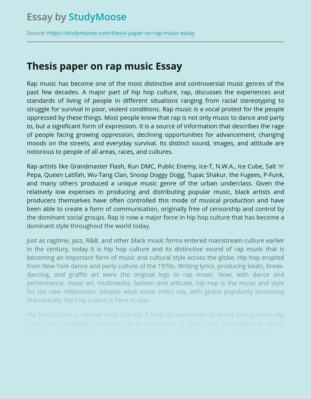 Thesis paper on rap music