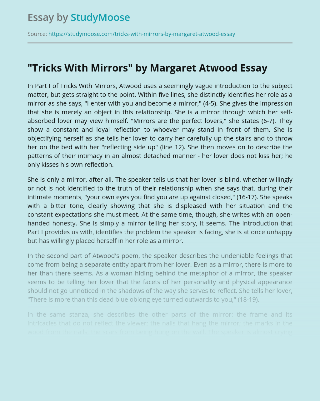 """""""Tricks With Mirrors"""" by Margaret Atwood"""