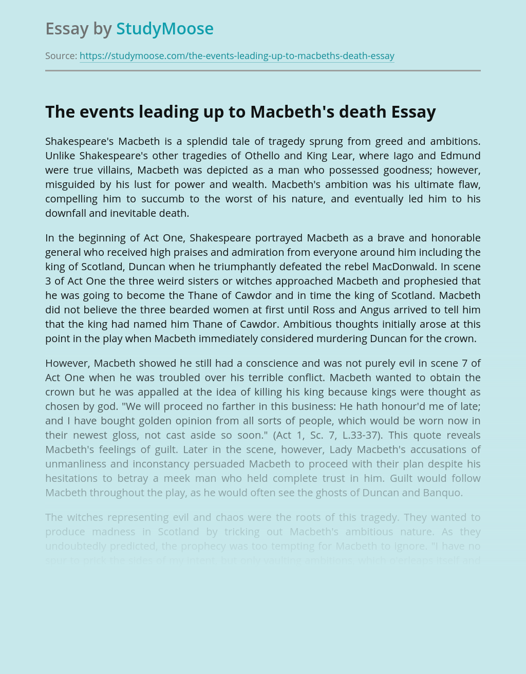 The events leading up to Macbeth's death