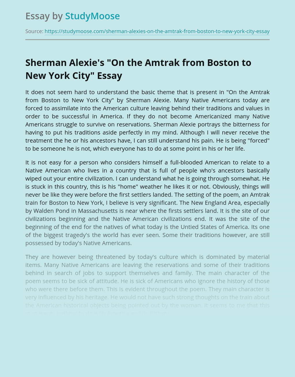 """Sherman Alexie's """"On the Amtrak from Boston to New York City"""""""