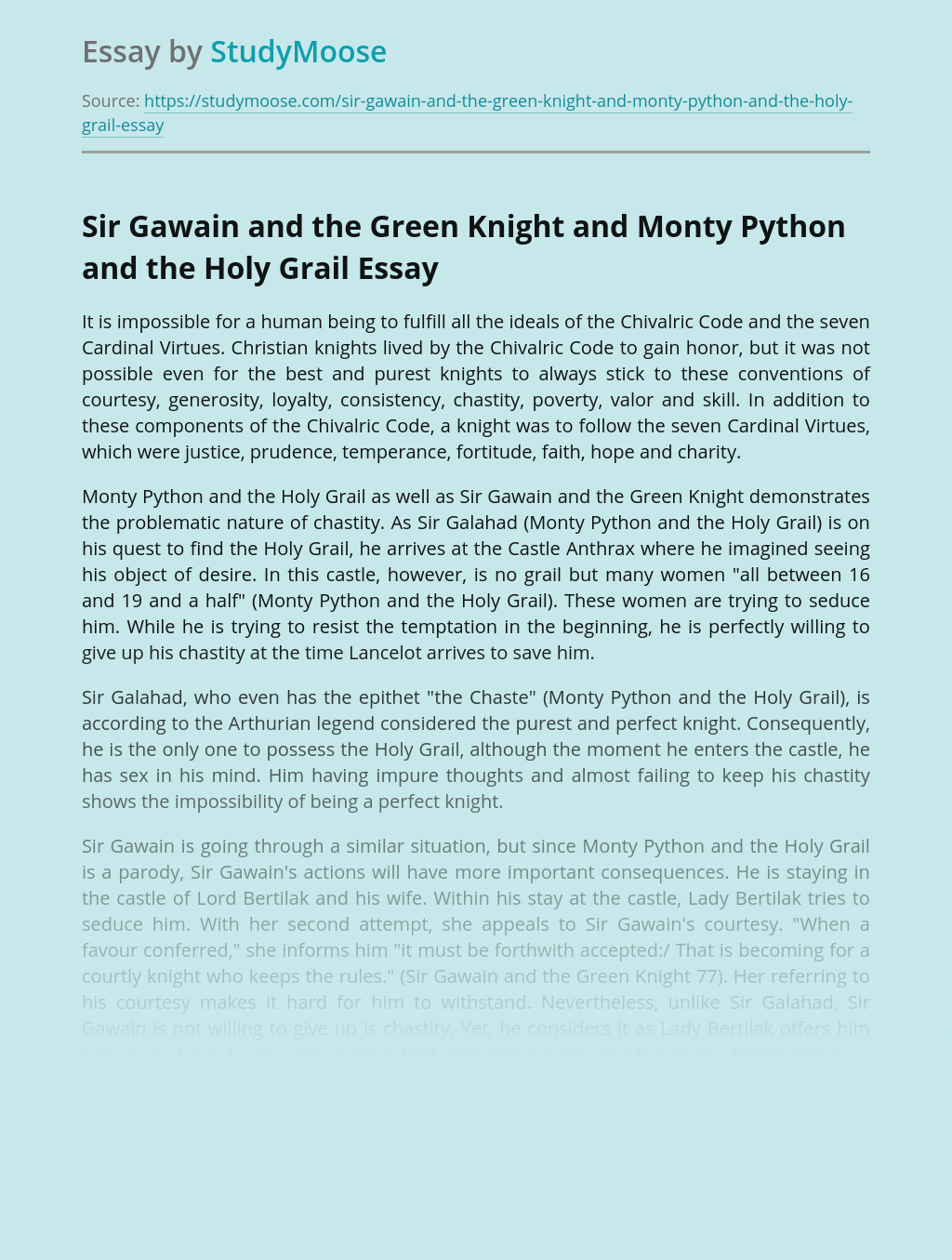 Comparison of Sir Gawain and Monty Python Characters