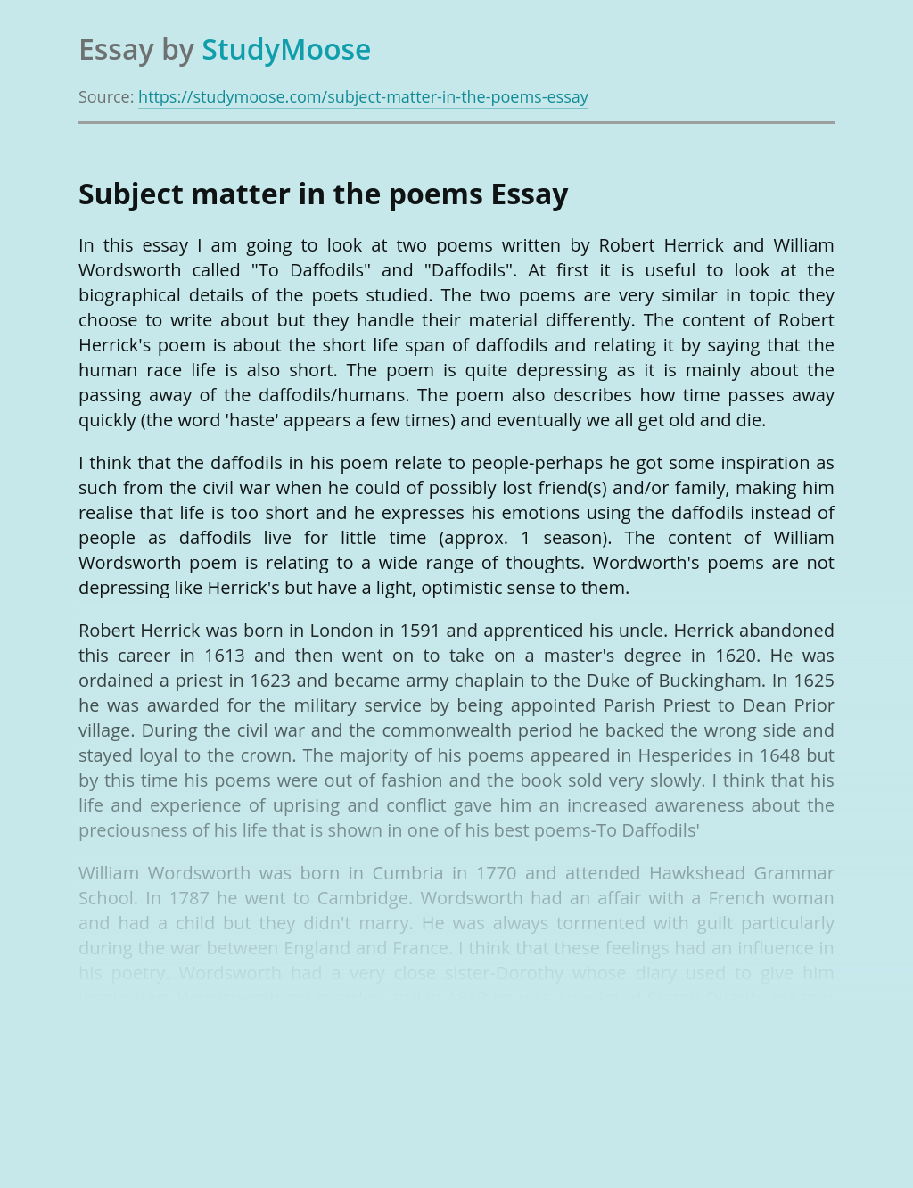Subject matter in the poems