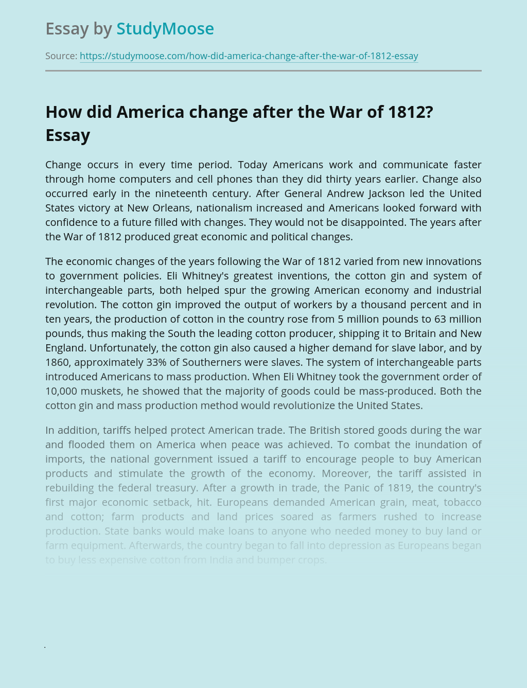 How did America change after the War of 1812?