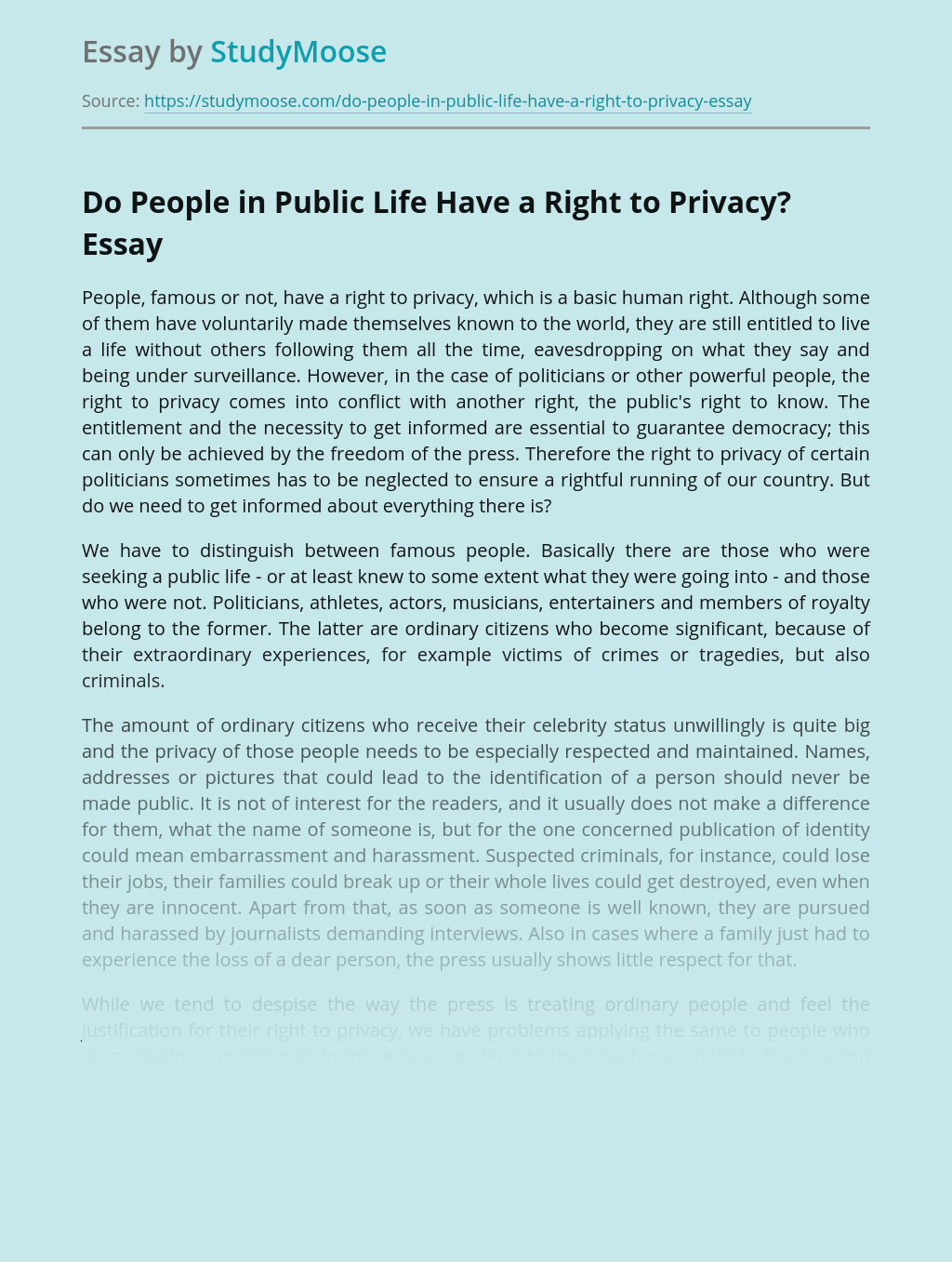 Do People in Public Life Have a Right to Privacy?