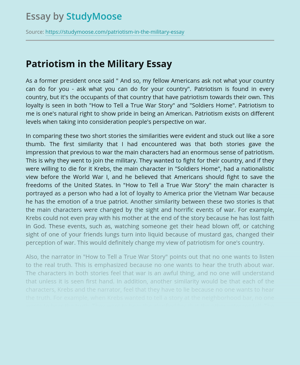 Patriotism in the Military