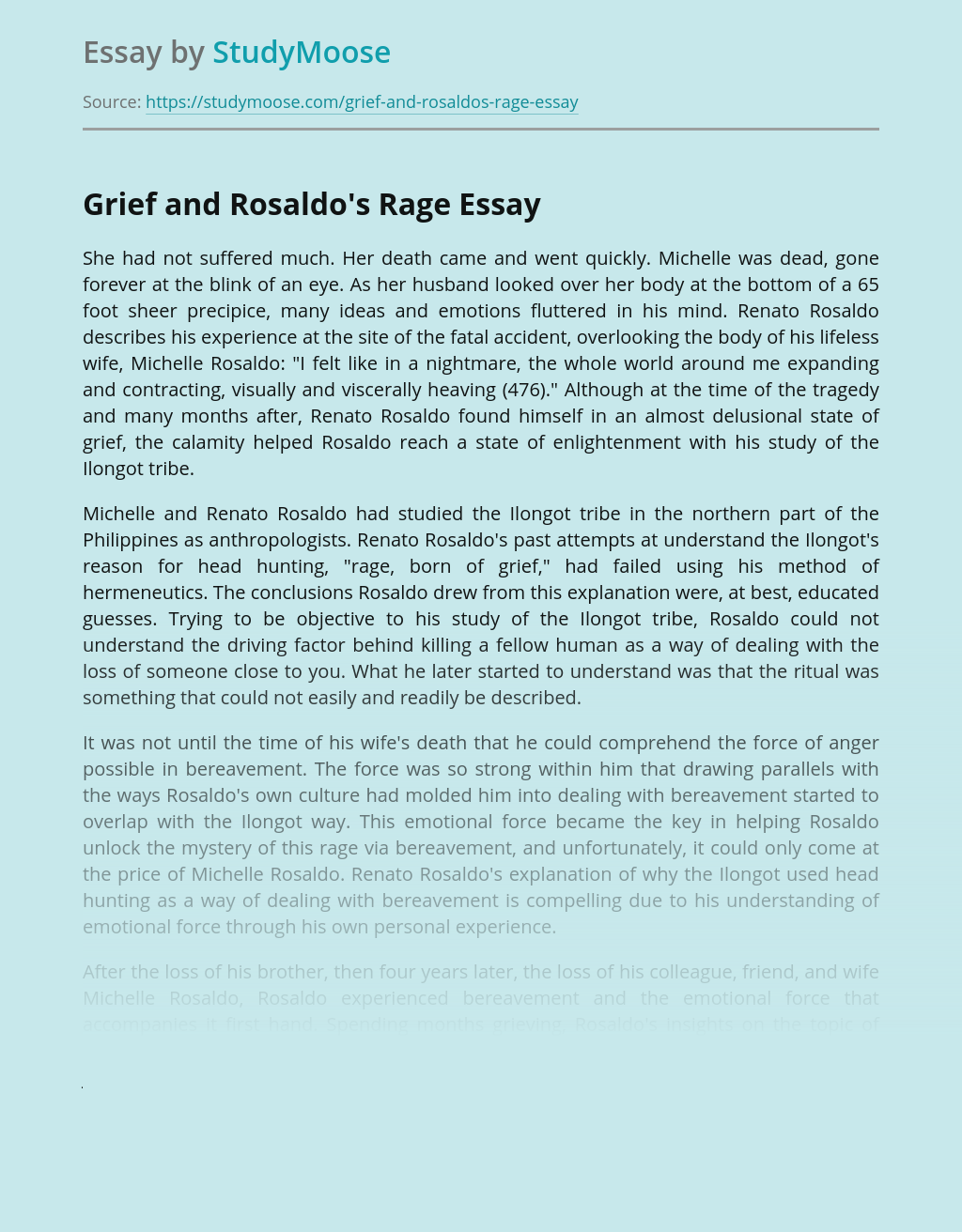 Grief and Rosaldo's Rage