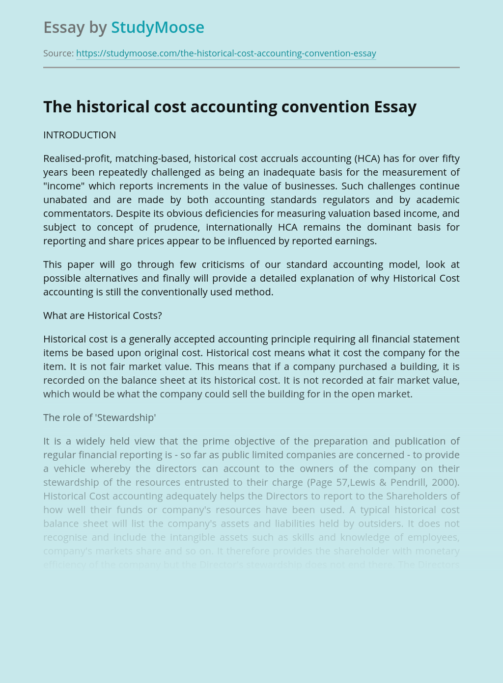 The historical cost accounting convention