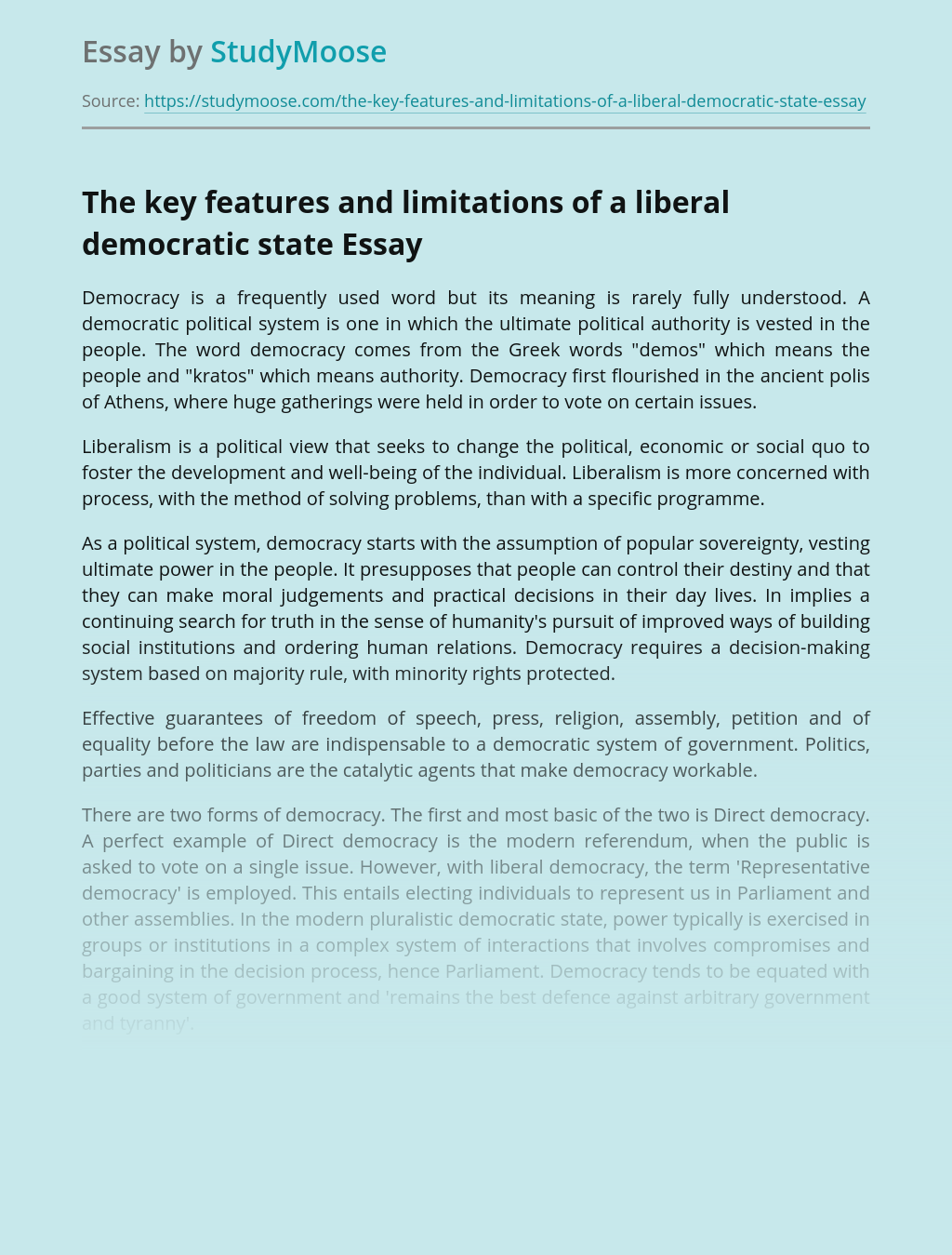 The key features and limitations of a liberal democratic state