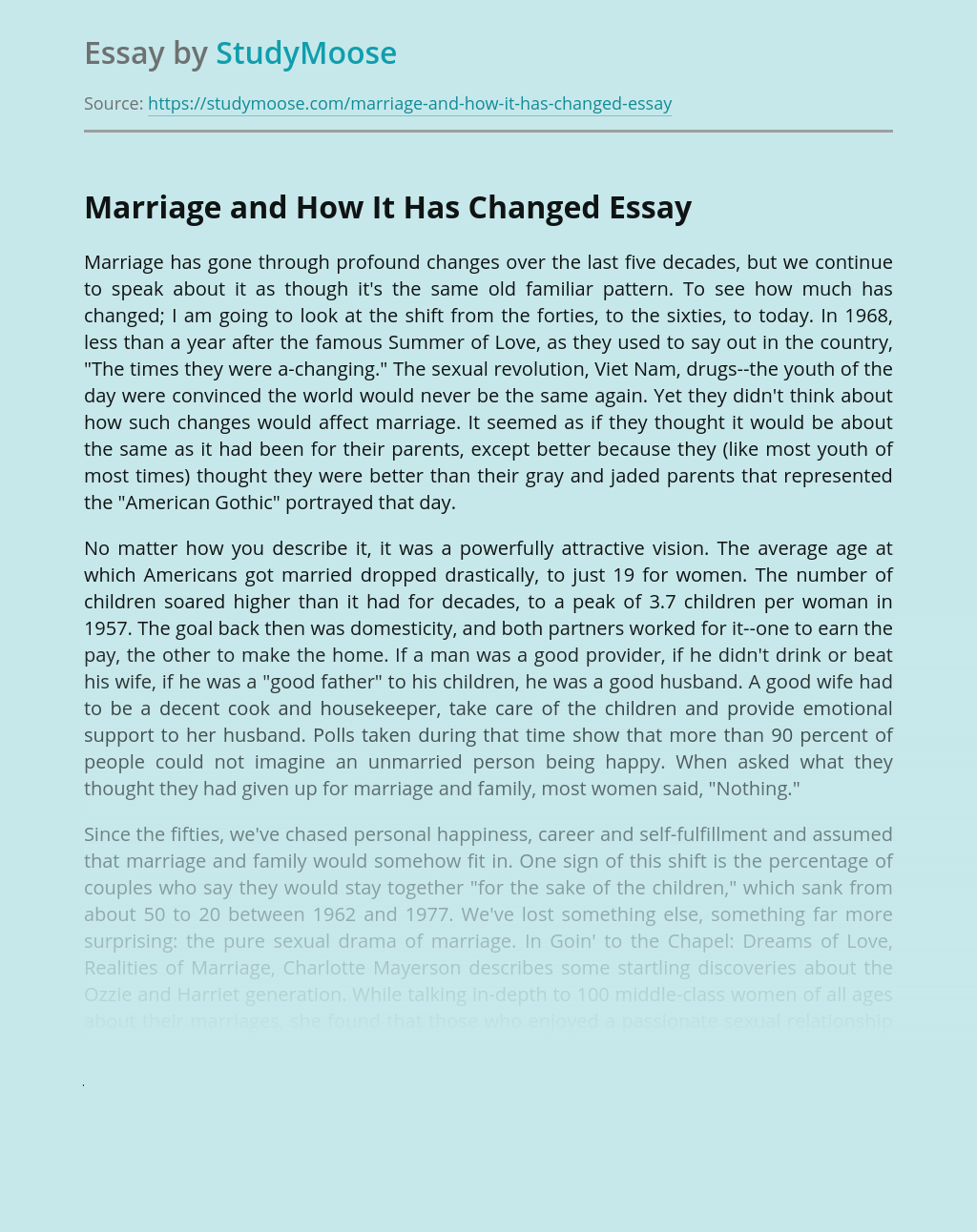 Marriage and How It Has Changed