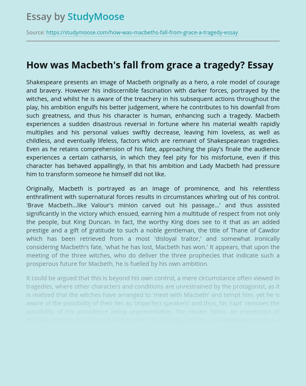 How was Macbeth's fall from grace a tragedy?