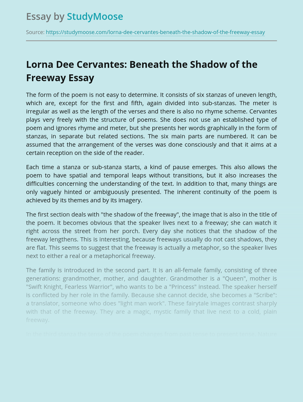Lorna Dee Cervantes: Beneath the Shadow of the Freeway