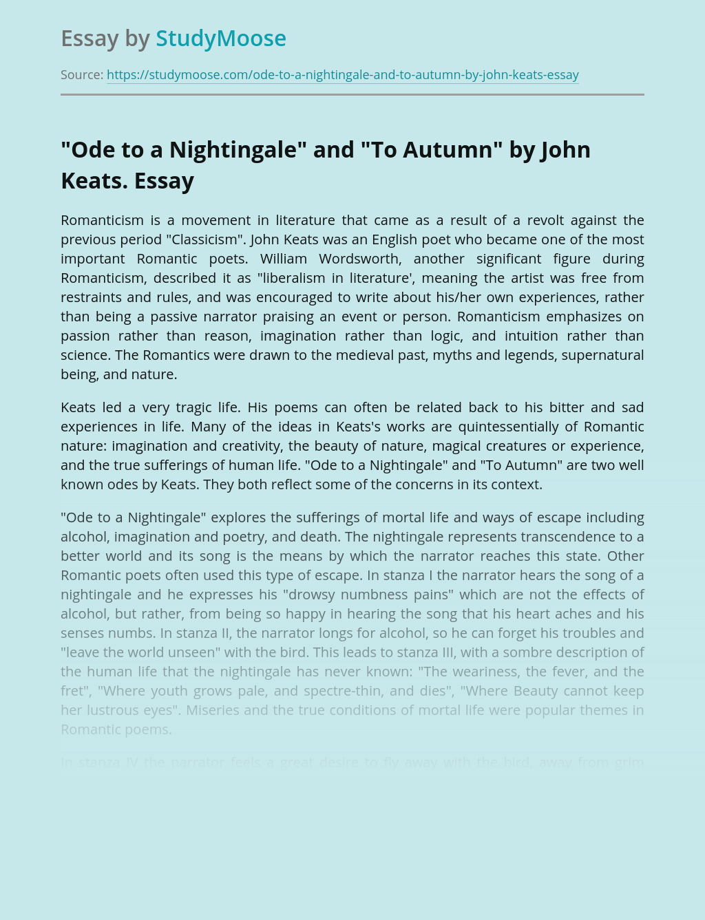 """""""Ode to a Nightingale"""" and """"To Autumn"""" by John Keats."""