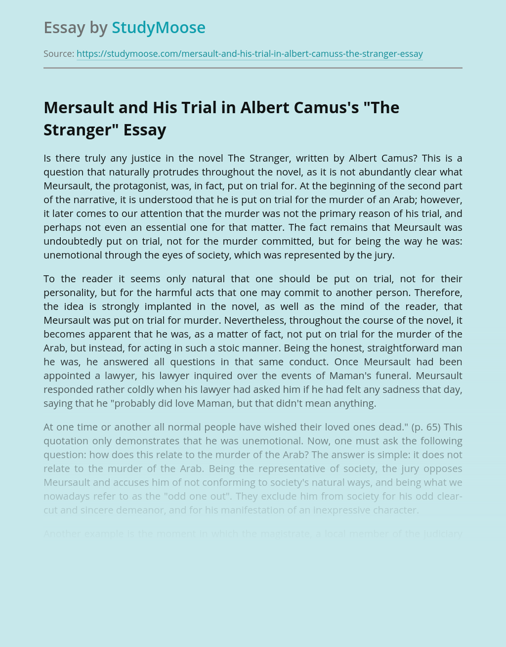 """Mersault and His Trial in Albert Camus's """"The Stranger"""""""