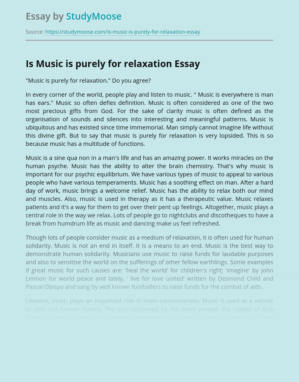 Is Music is purely for relaxation