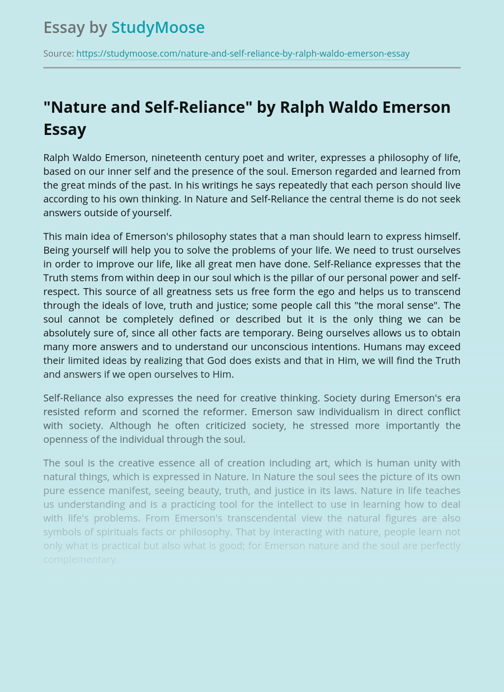 """""""Nature and Self-Reliance"""" by Ralph Waldo Emerson"""