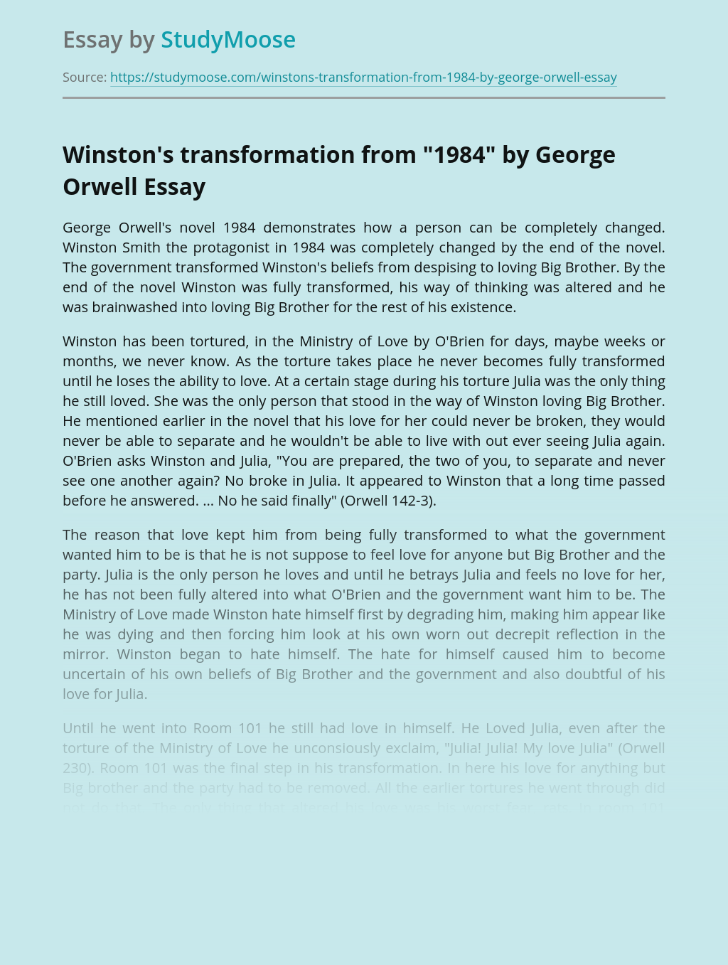 """Winston's transformation from """"1984"""" by George Orwell"""