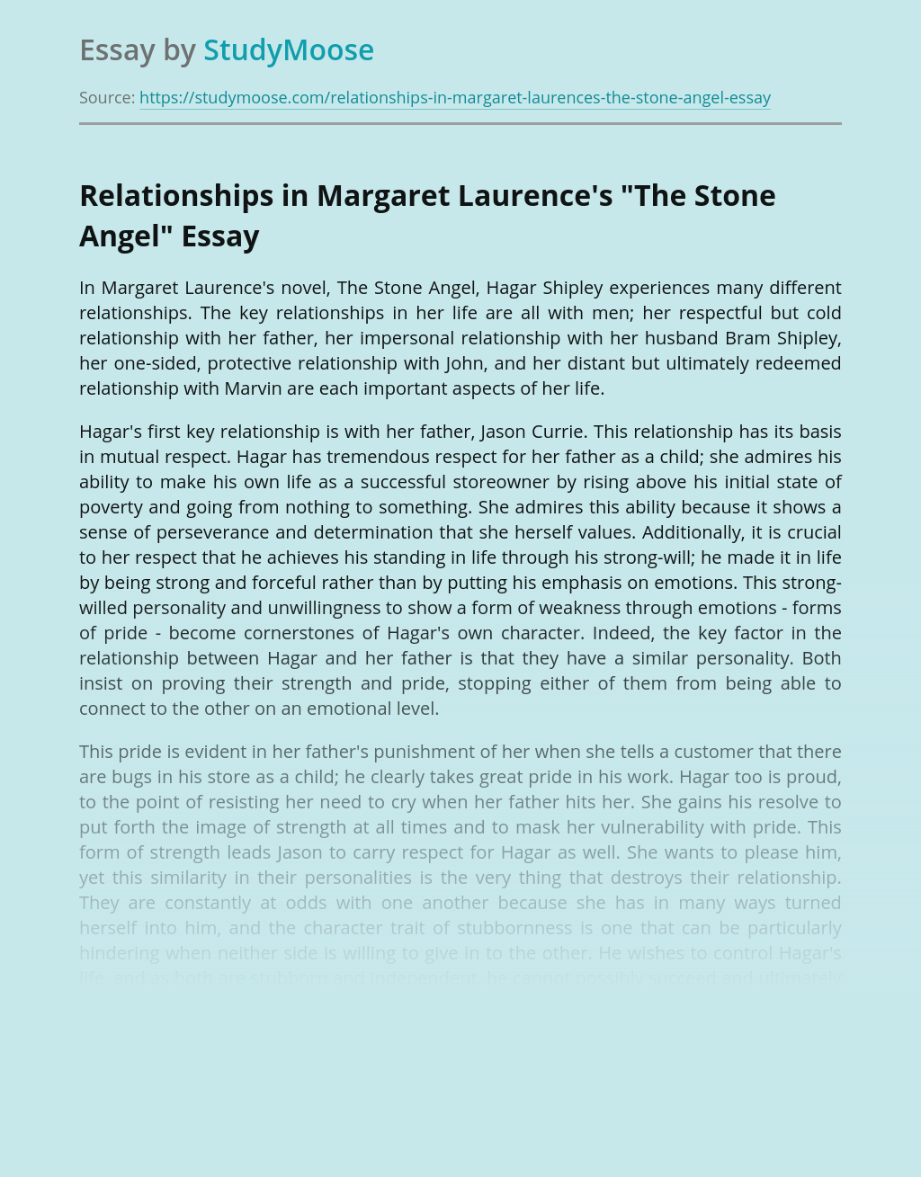 """Relationships in Margaret Laurence's """"The Stone Angel"""""""