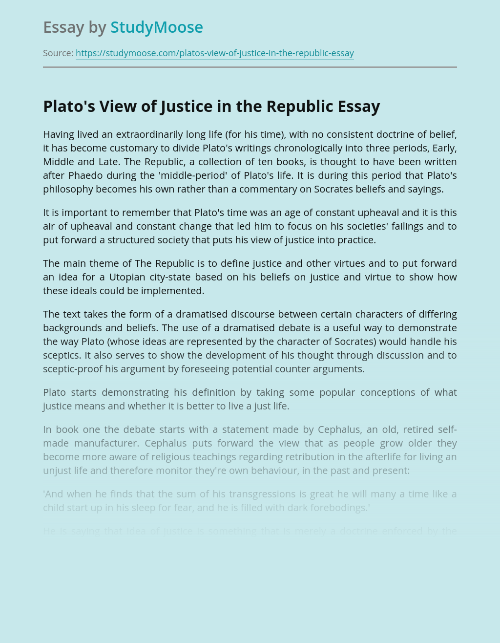 Plato's View of Justice in the Republic