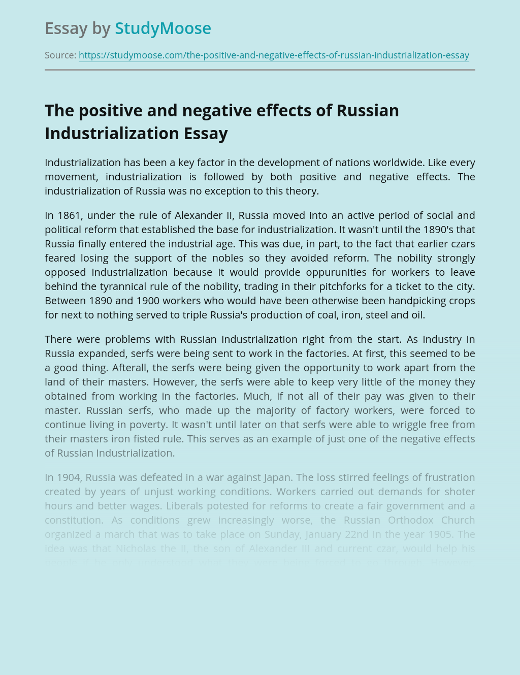 The Positive and Negative Effects of Russian Industrialization