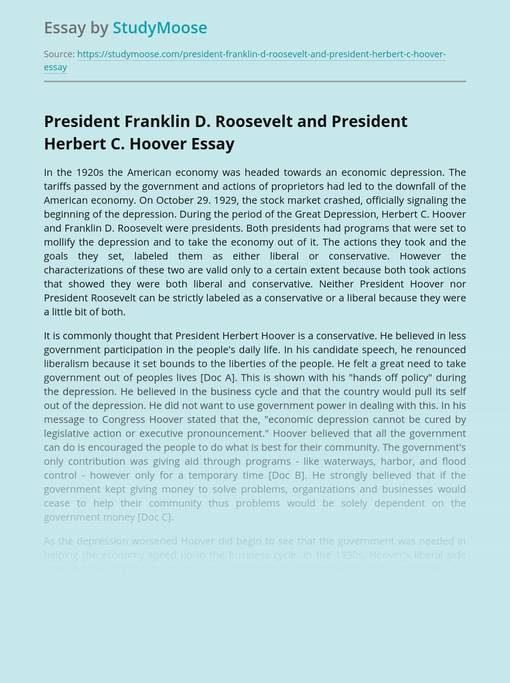 President Franklin D. Roosevelt and President Herbert C. Hoover
