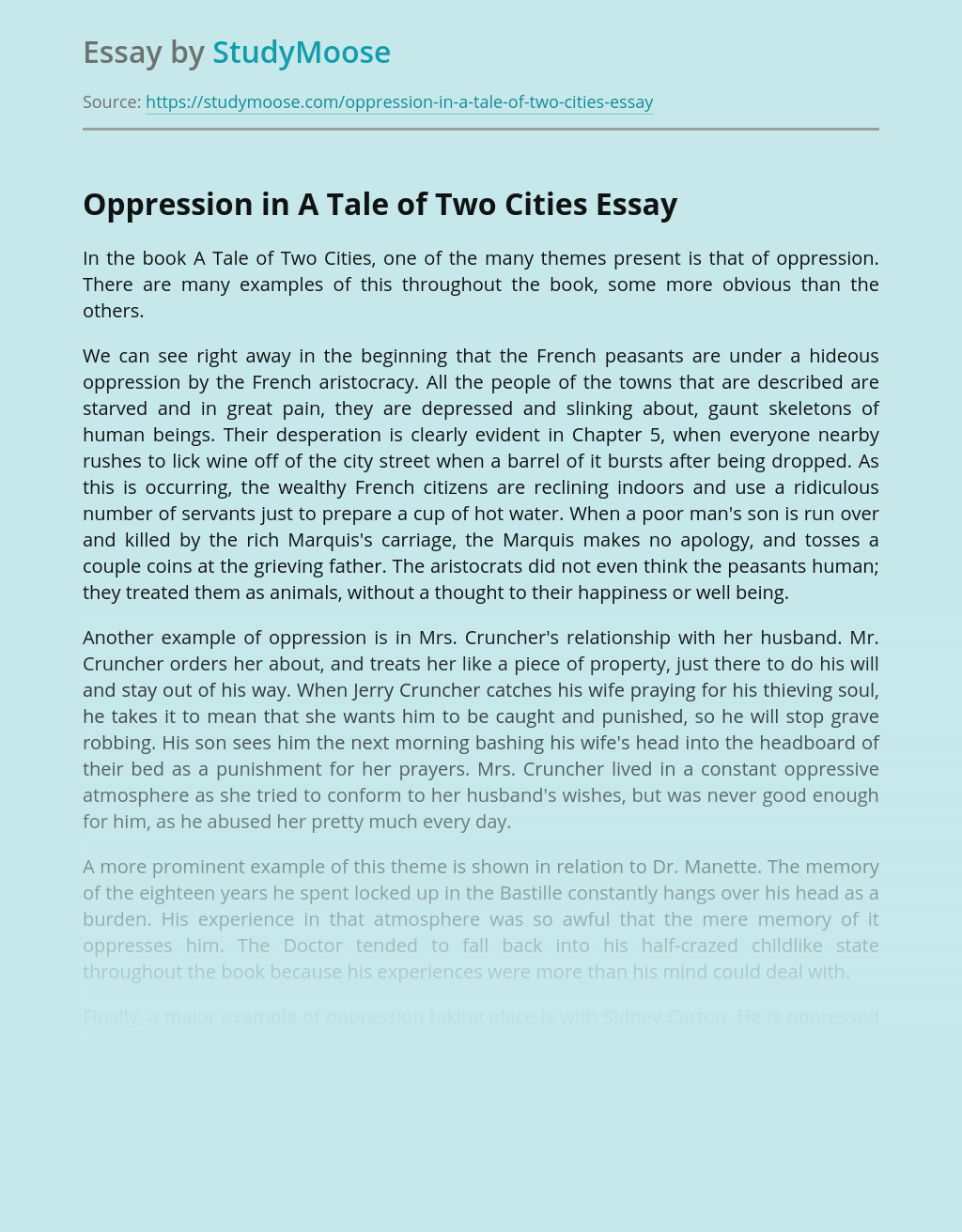 Oppression in A Tale of Two Cities