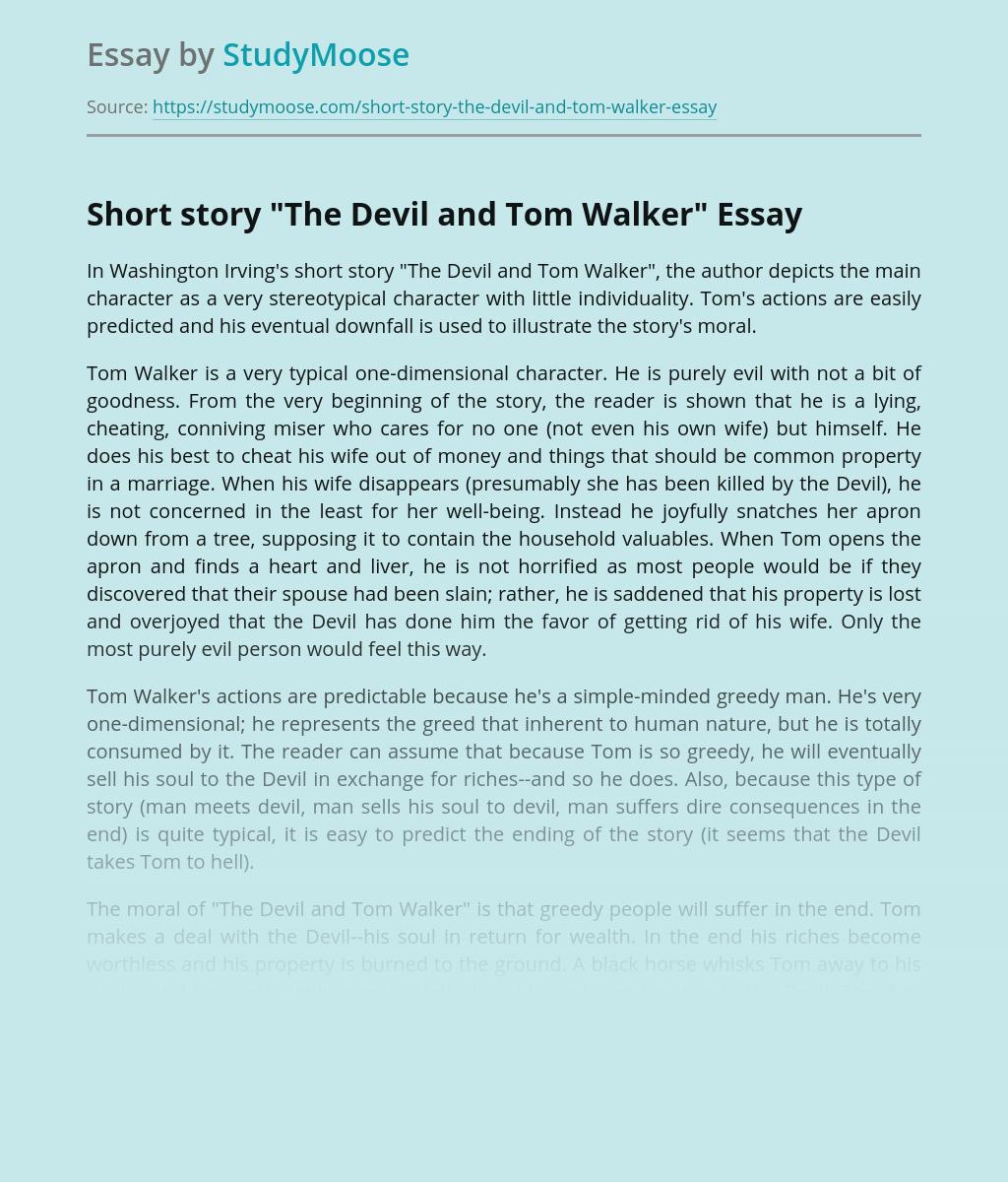"Short story ""The Devil and Tom Walker"""