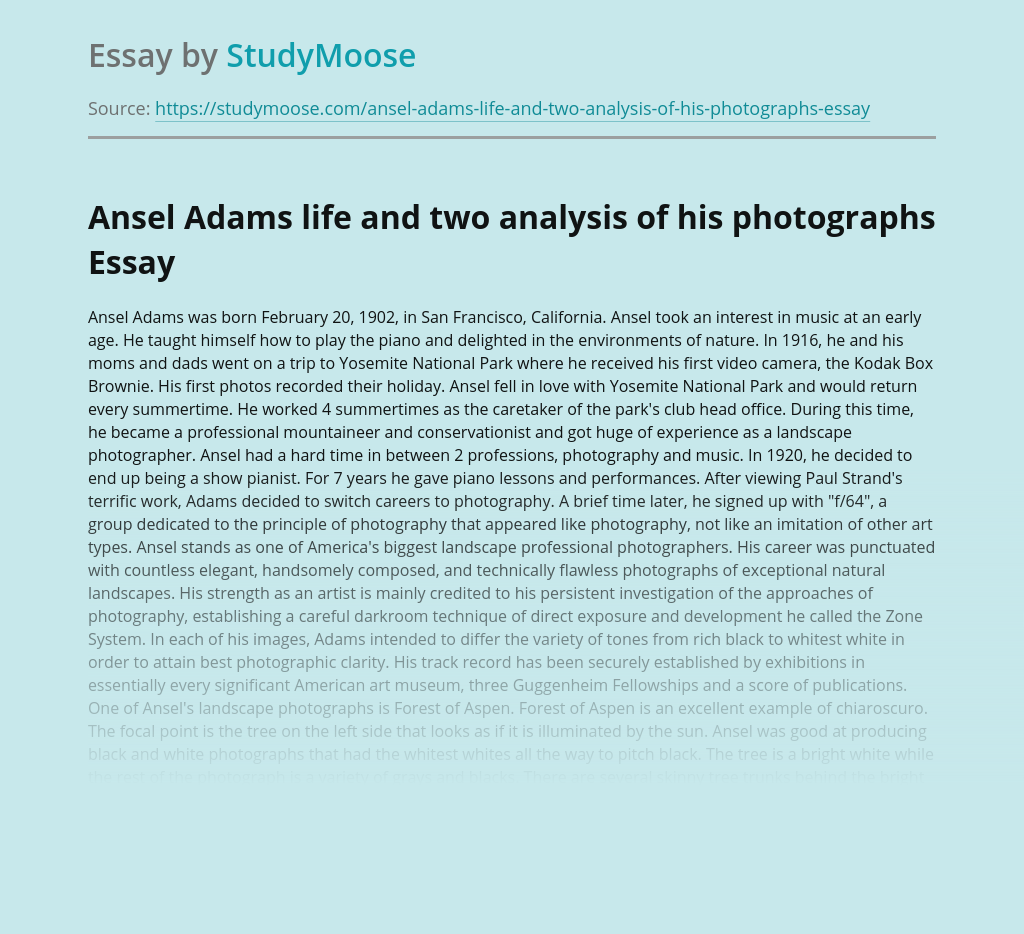 Ansel Adams life and two analysis of his photographs