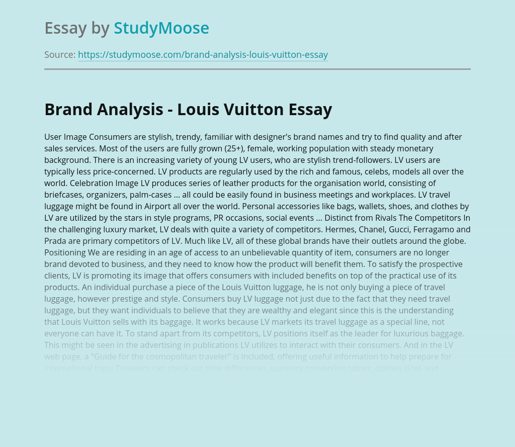 Louis Vuitton Brand Analysis