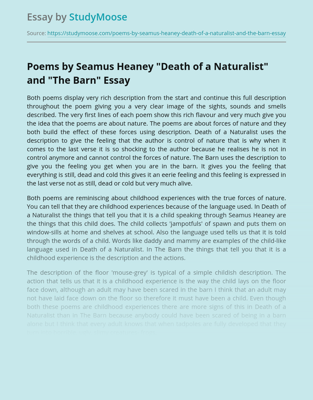 "Poems by Seamus Heaney ""Death of a Naturalist"" and ""The Barn"""