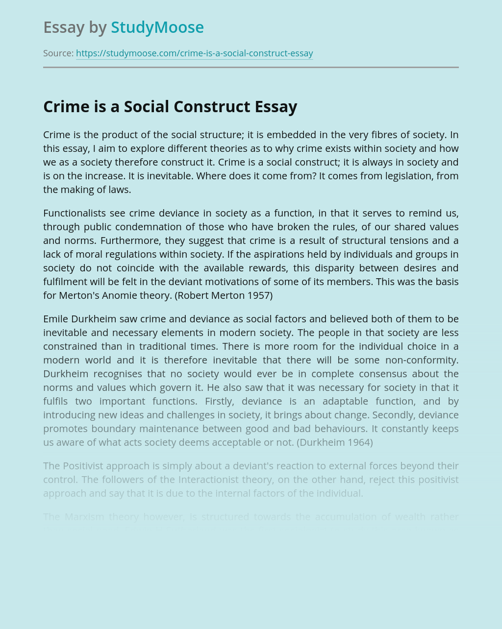 Crime is a Social Construct