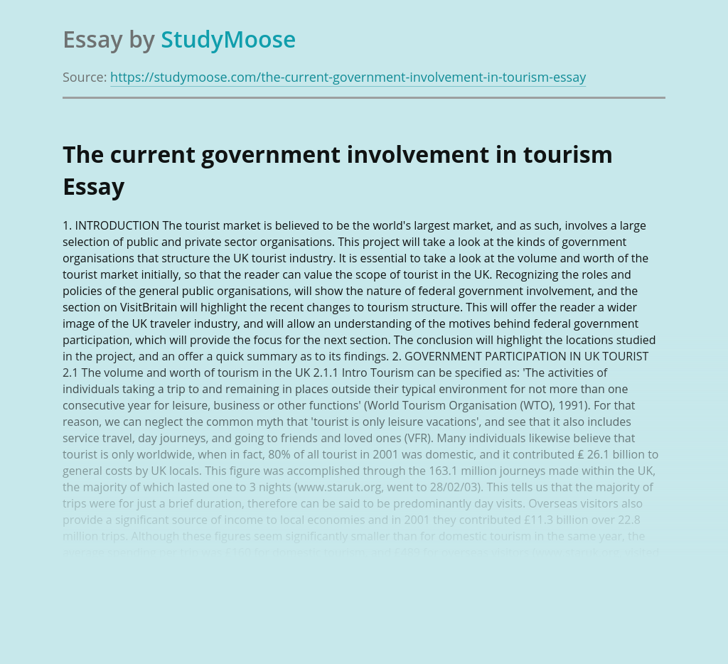 The current government involvement in tourism