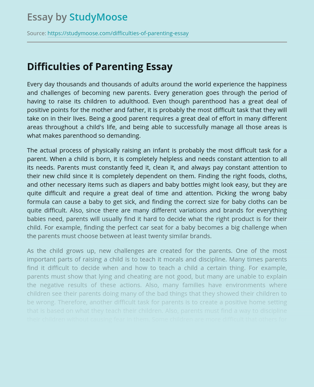 Difficulties of Parenting