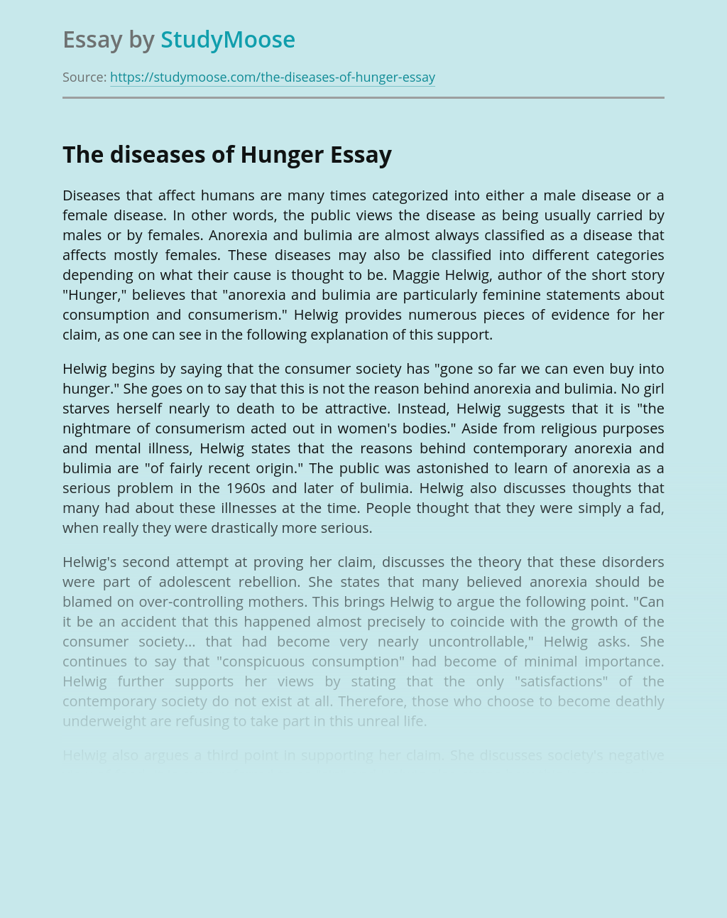 The diseases of Hunger