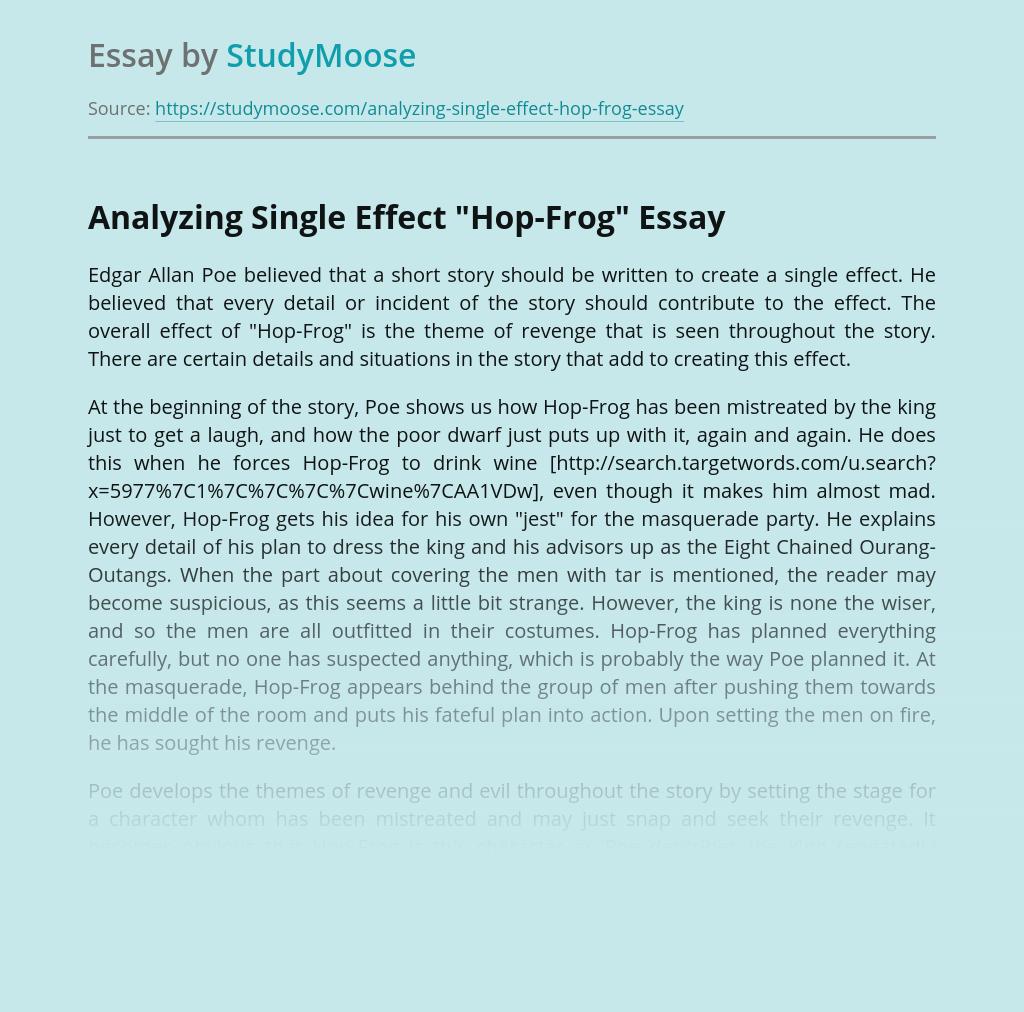 Analyzing Single Effect