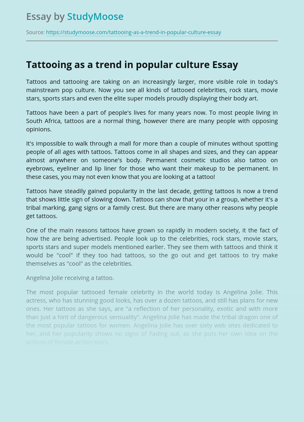 Tattooing as a trend in popular culture