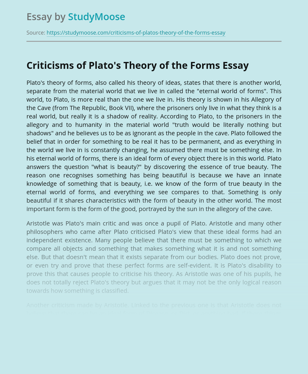 Criticisms of Plato's Theory of the Forms