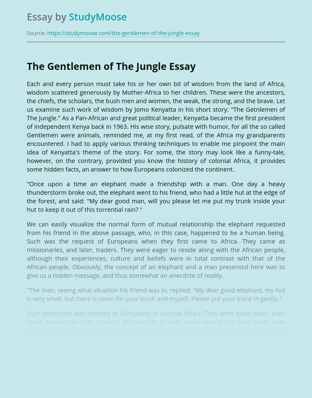 Problems Shown in The Gentlemen of The Jungle