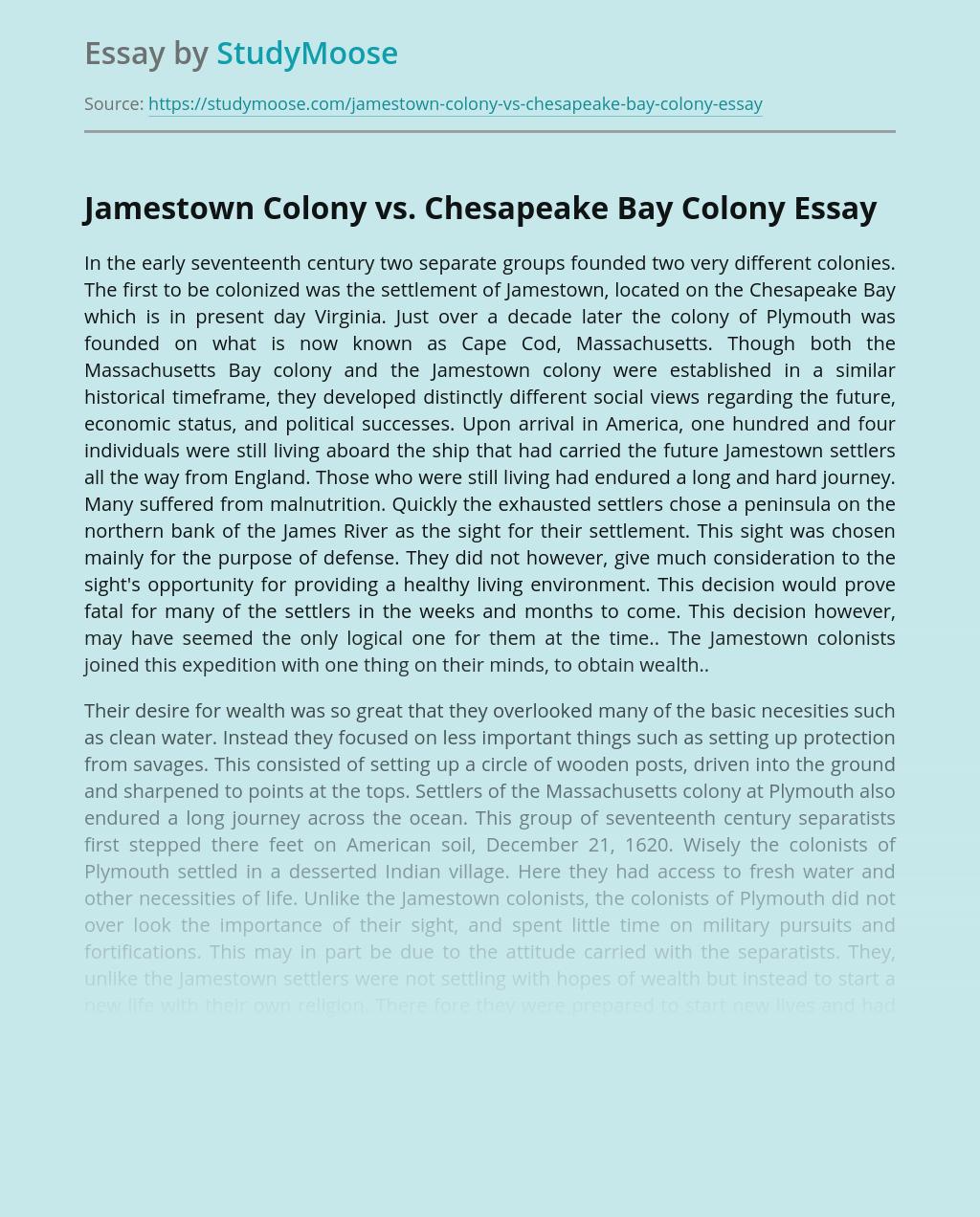 Jamestown Colony vs. Chesapeake Bay Colony